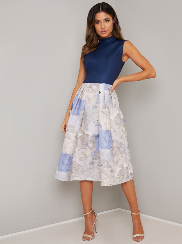 Floral Contrast Midi Dress in Blue