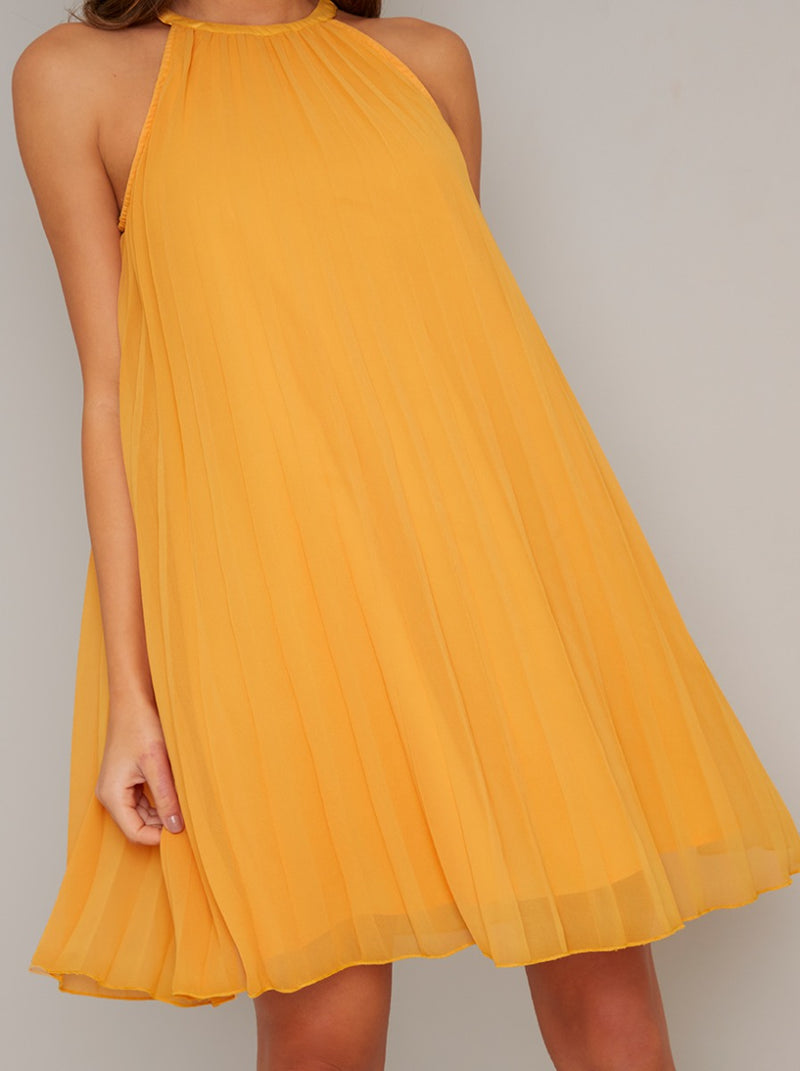 Pleat Detail Swing Mini Dress in Yellow