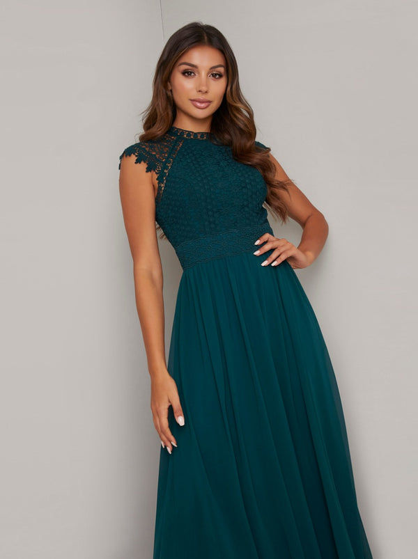 Crochet Maxi Dress with Capped Sleeves in Green
