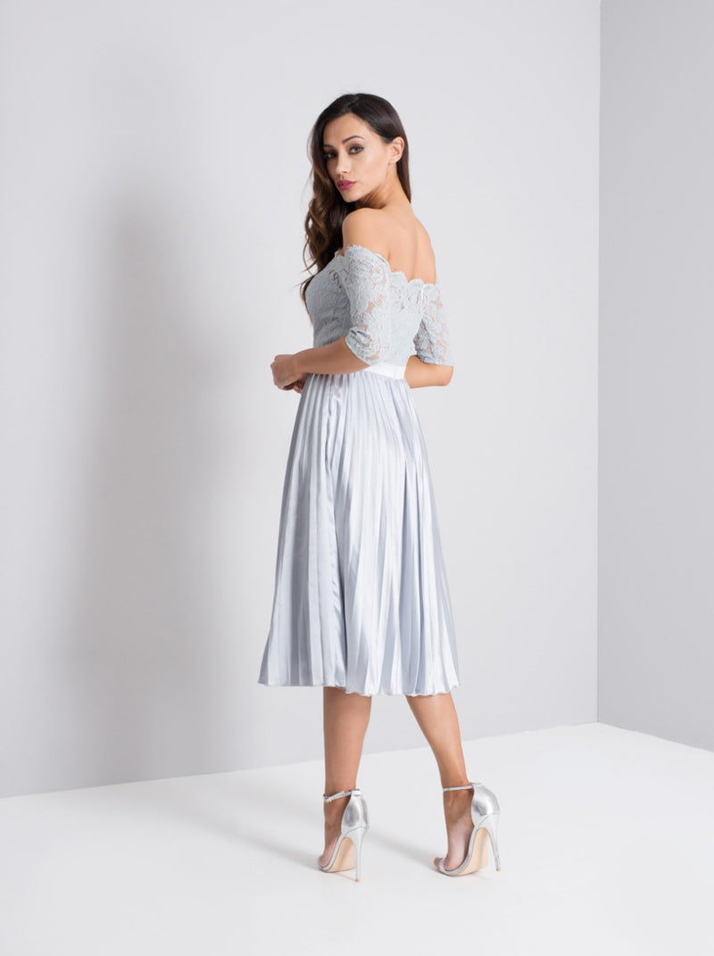 Tall Lace Bodice Bardot Pleat Midi Dress in Blue