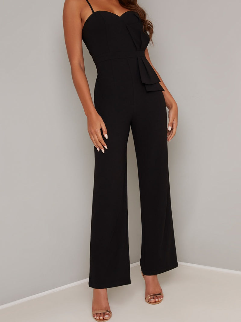 Bow Detail Cami Strap Wide Leg Jumpsuit in Black