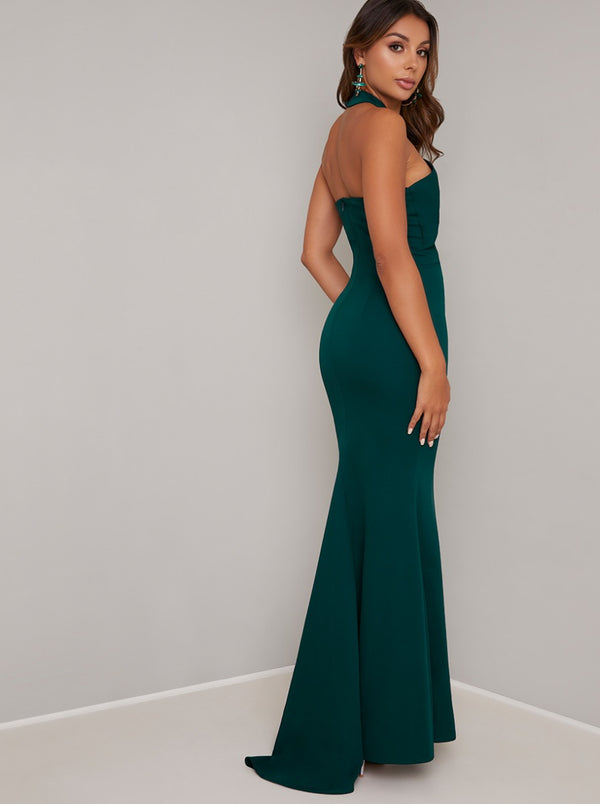 Halterneck Bodycon Maxi Dress In Teal