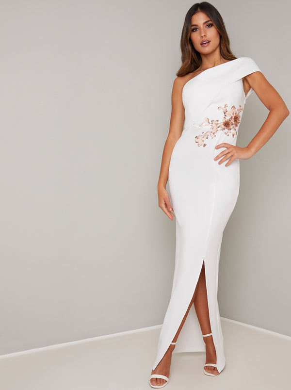 Sequin Maxi Dress with Knee-High Split in White