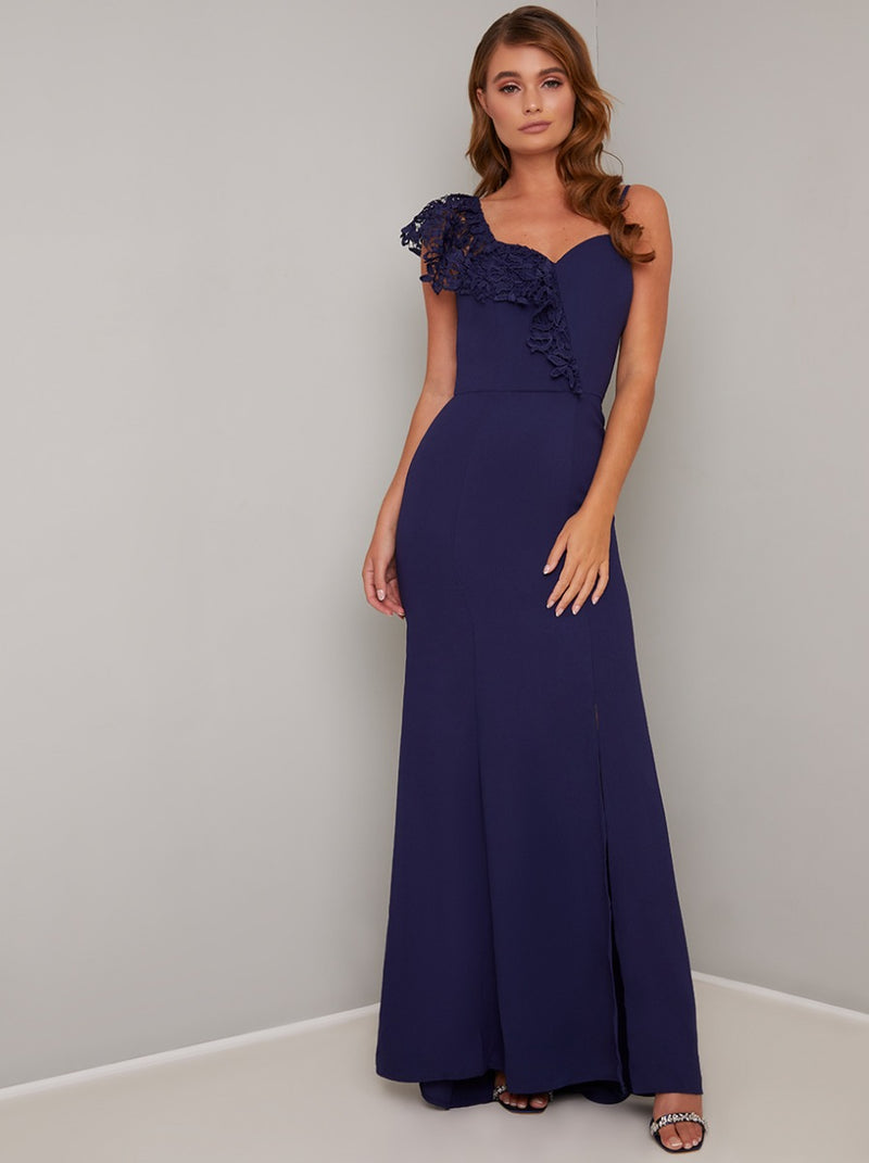 Ruffle Detail Thigh Split Maxi Dress in Blue