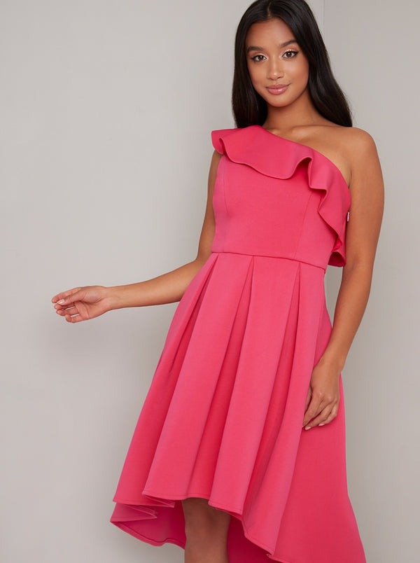 Petite Frill Detail Dip Hem Midi Dress in Fuschia