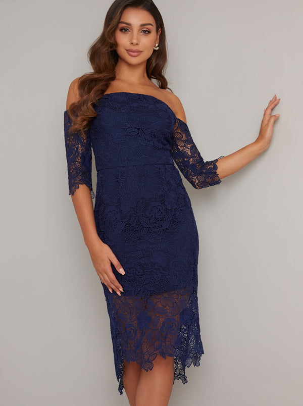 Bardot Long Sleeved Lace Bodycon Dip Hem Dress in Blue