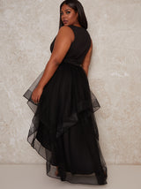 Plus Size Tulle Dip Hem V Neck Dress in Black