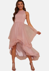 Dip Hem High Neck Dress with Tulled Skirt in Nude