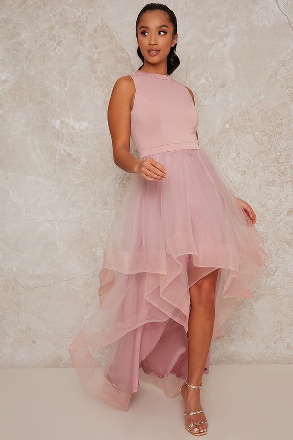 Petite Dip Hem Dress in Pink