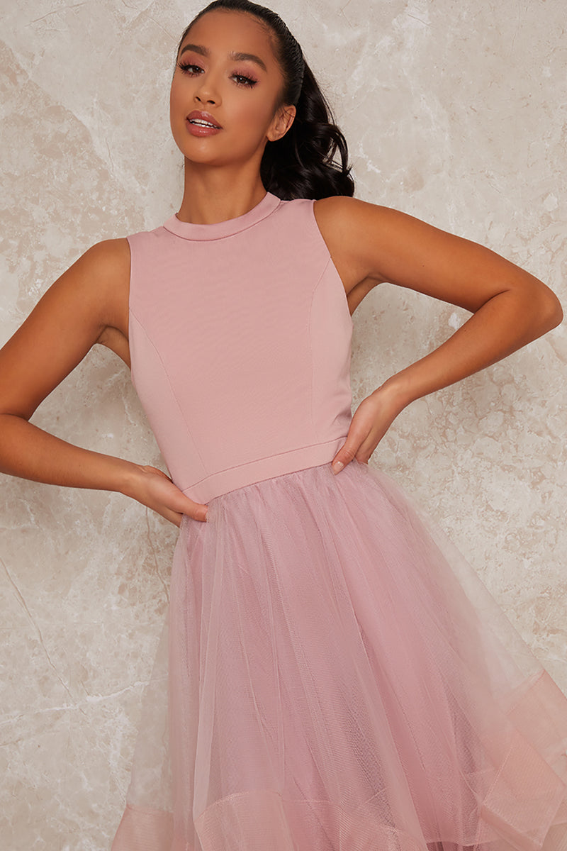 Petite Dip Hem High Neck Dress with Tulled Skirt inPink