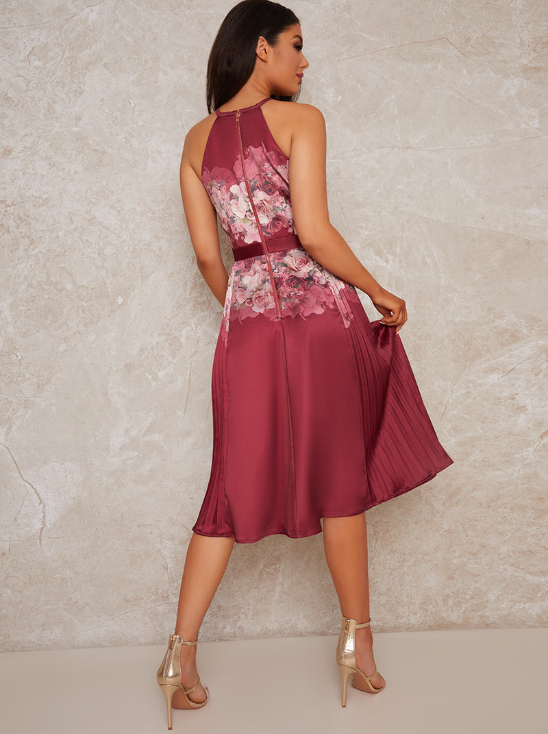 Halter Neck Floral Print Pleat Midi Dress in Red