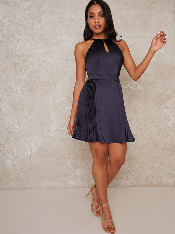 High Neck Satin Finish Pleat Mini Dress in Blue