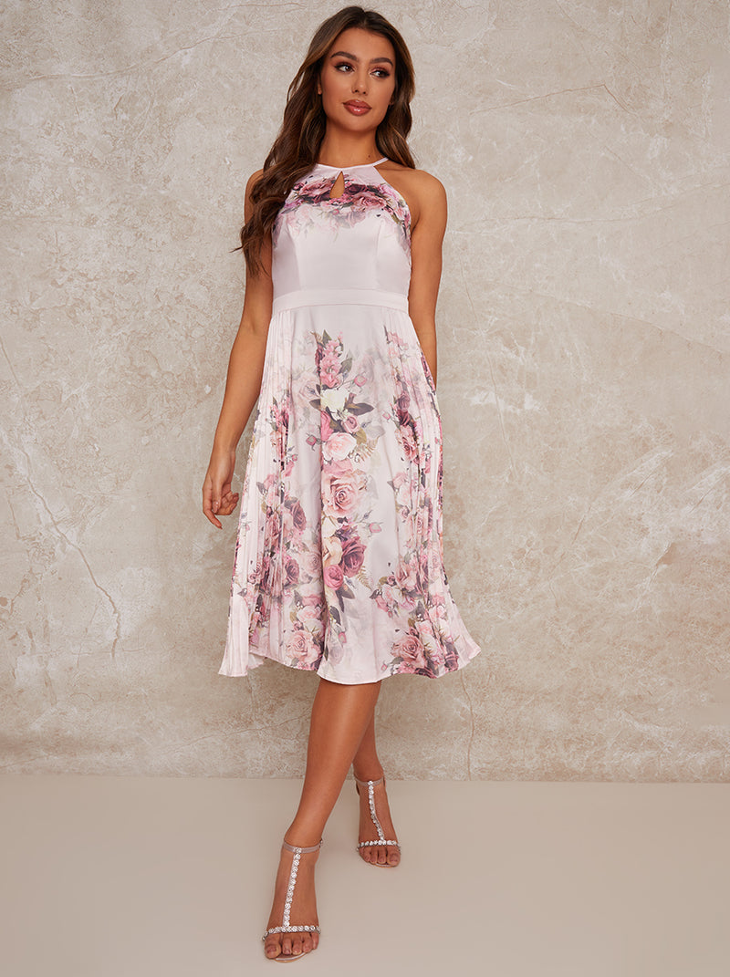 Pleated Midi Dress with Floral Print Design in Brown