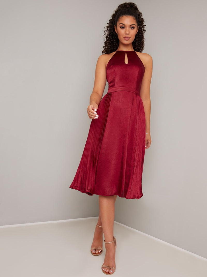 Halterneck Satin Pleated Midi Dress in Red