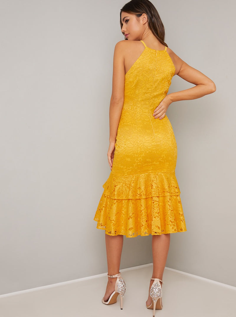 Lace Bodycon Tiered Hem Midi Dress in Yellow