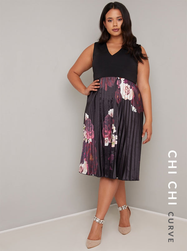 Plus Size Contrast Floral Pleat Midi Dress in Black