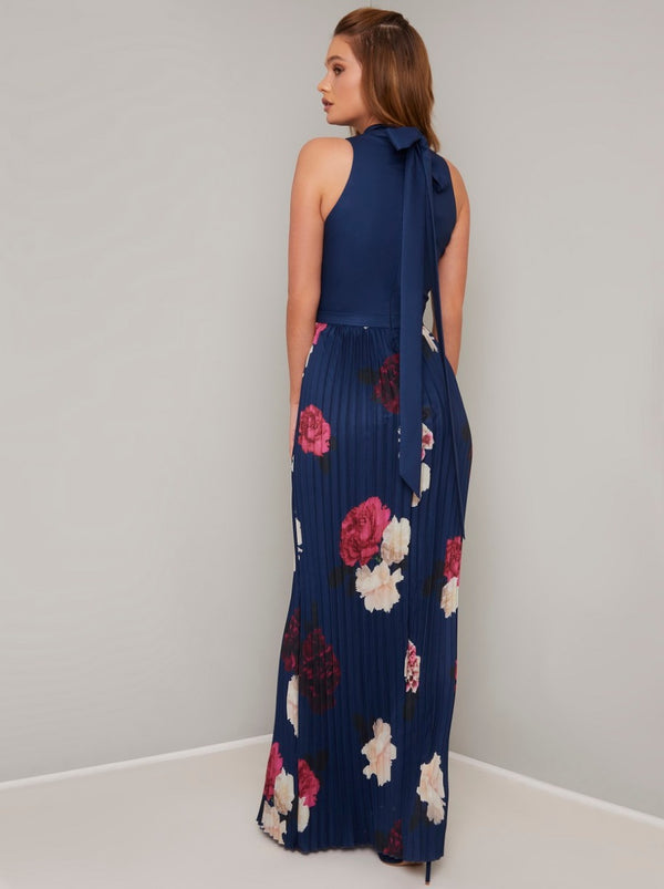 High Neck Floral Pleat Maxi Dress in Blue