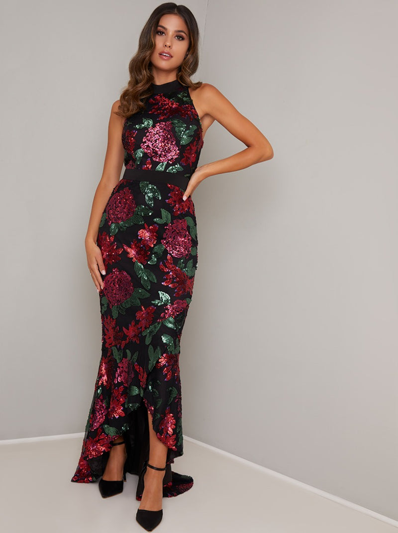 High Neck Bodycon Floral Dip Hem Maxi Dress in Black