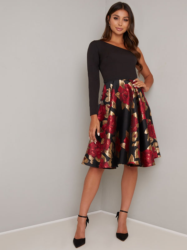 One Shoulder Jacquard Midi Dress in Black