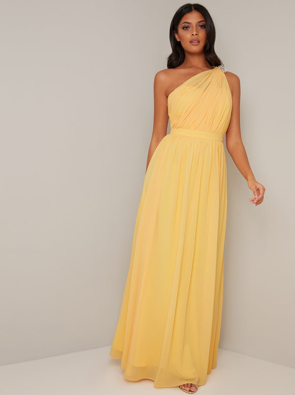 One Shoulder Pleat Design Maxi Dress In Yellow