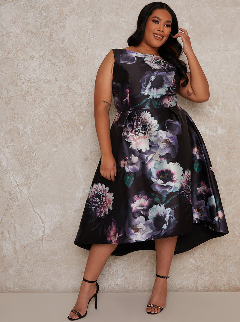 Plus Size Floral Dip Hem Midi Dress in Black