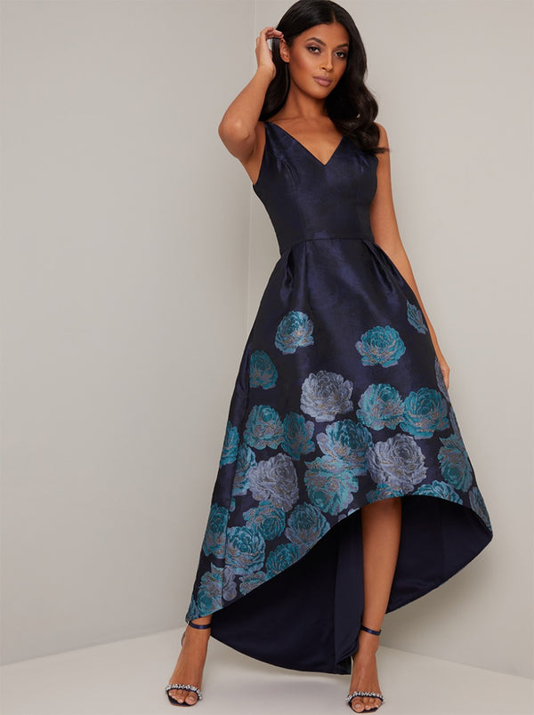Floral Print Jacquard Dip Hem Dress in Blue