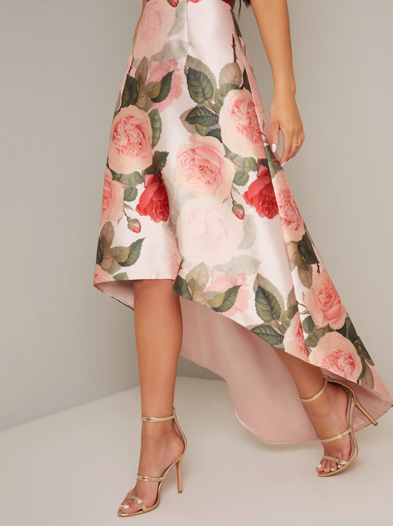 Bardot Contrast Floral Pring Dip Hem Dress in Pink