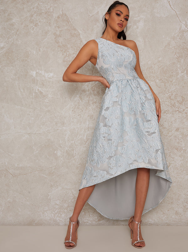 One Shoulder Jacquard Dip Hem Dress in Blue