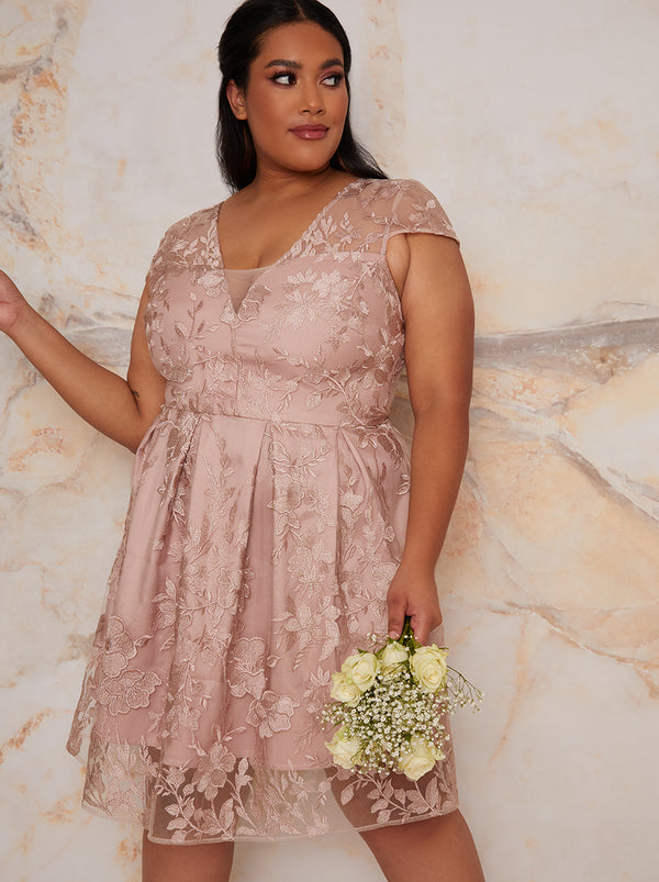 Plus Size Lace Bridesmaid Midi Dress in Neutral
