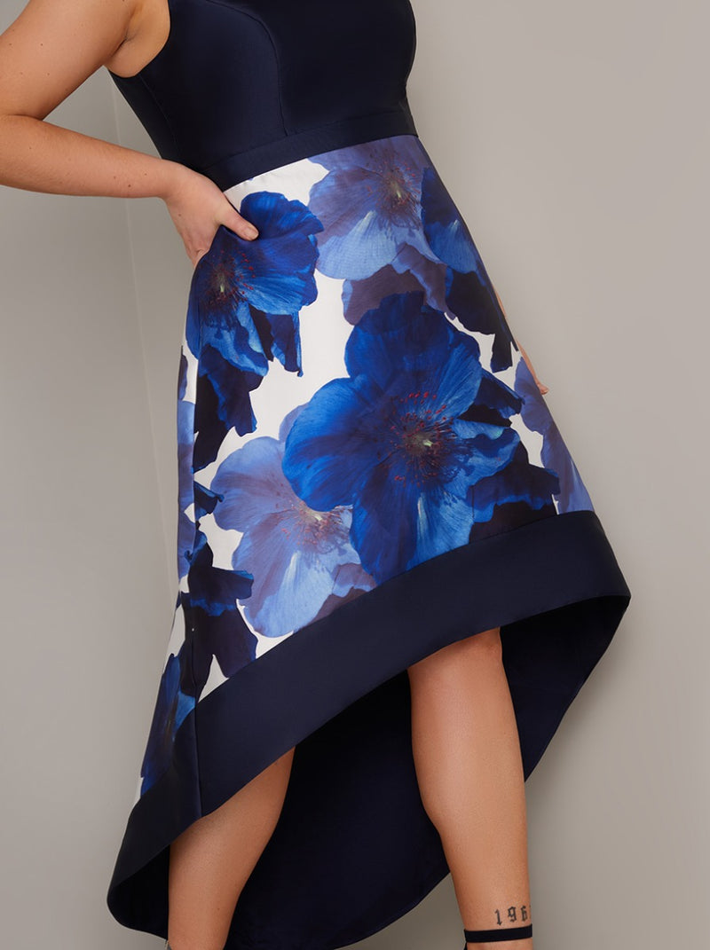 Plus Size Floral Print Dip Hem Midi Dress in Blue
