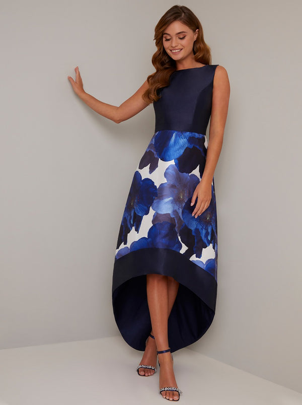Floral Print Contrast Dip Hem Midi Dress in Blue