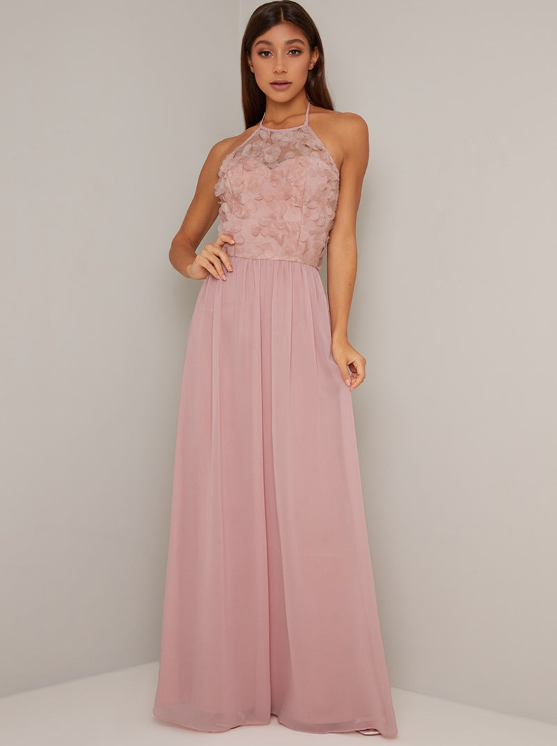 Halter Neck Floral 3D Bodice Maxi Dress in Pink