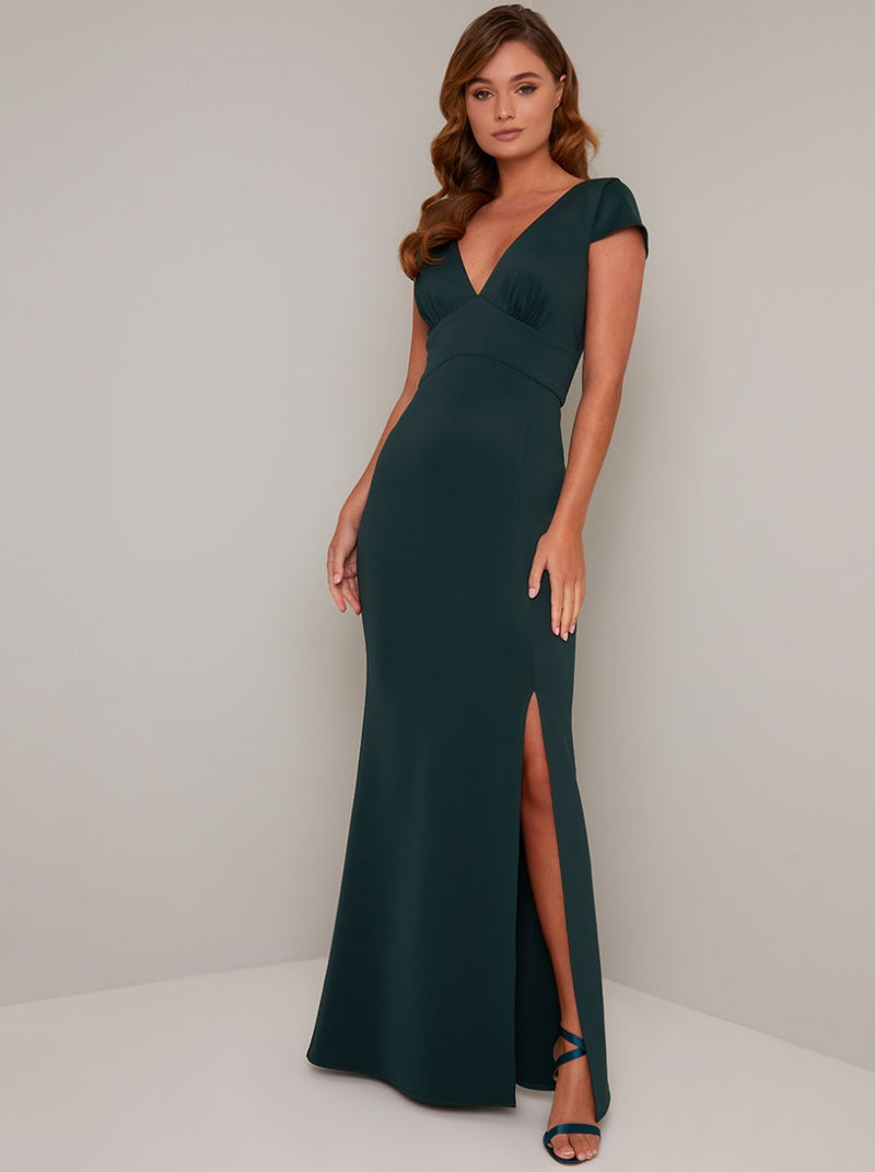 V Neck Cap Sleeve Satin Maxi Dress with Split in Green