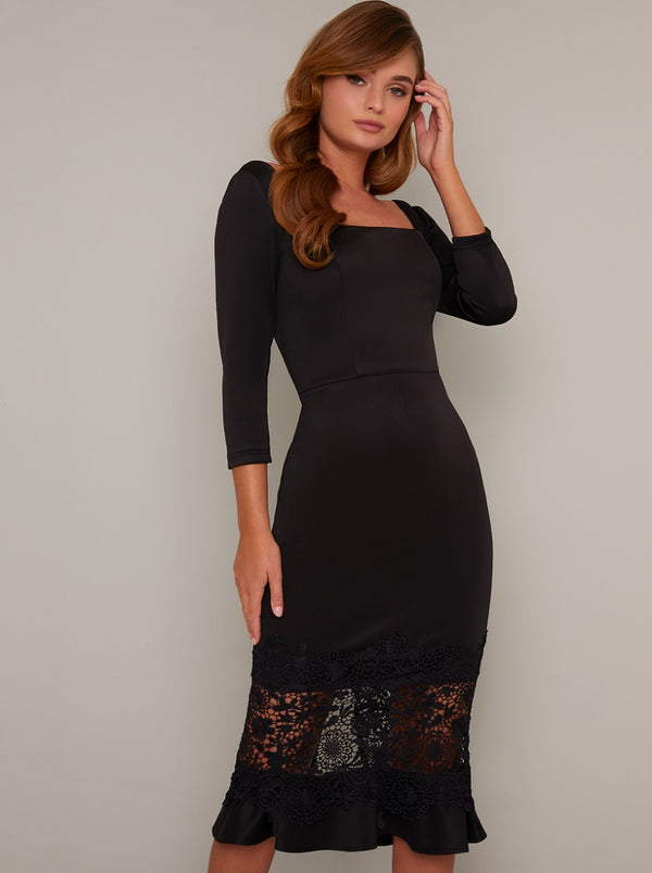 Long Sleeved Lace Hem Bodycon Midi Dress in Black
