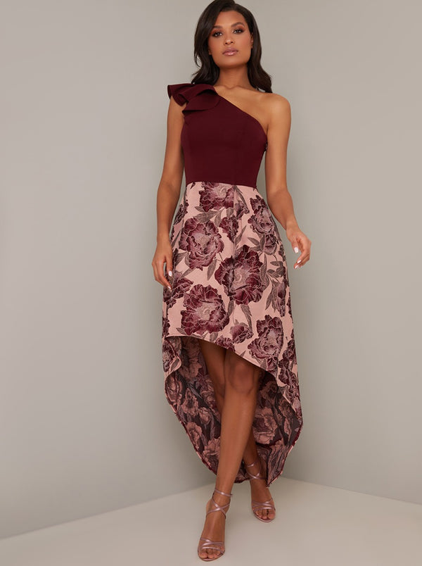 One Shoulder Floral Jacquard Dip Hem Dress in Brown