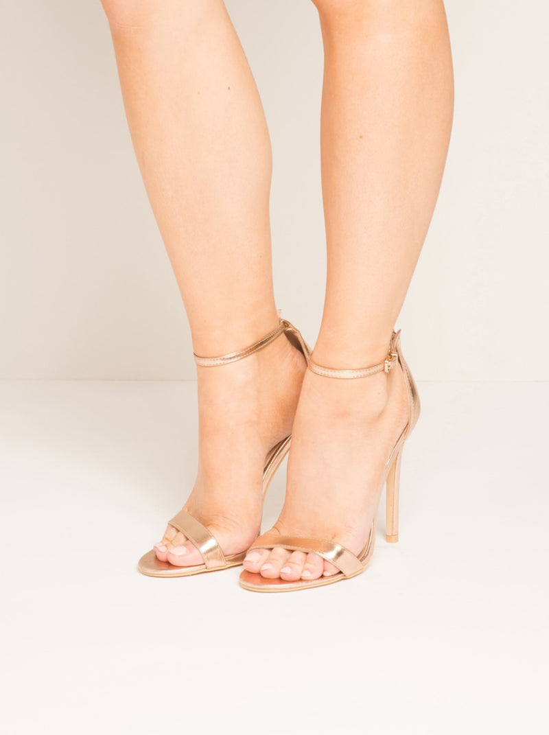 High Heel Strappy Sandal in Gold