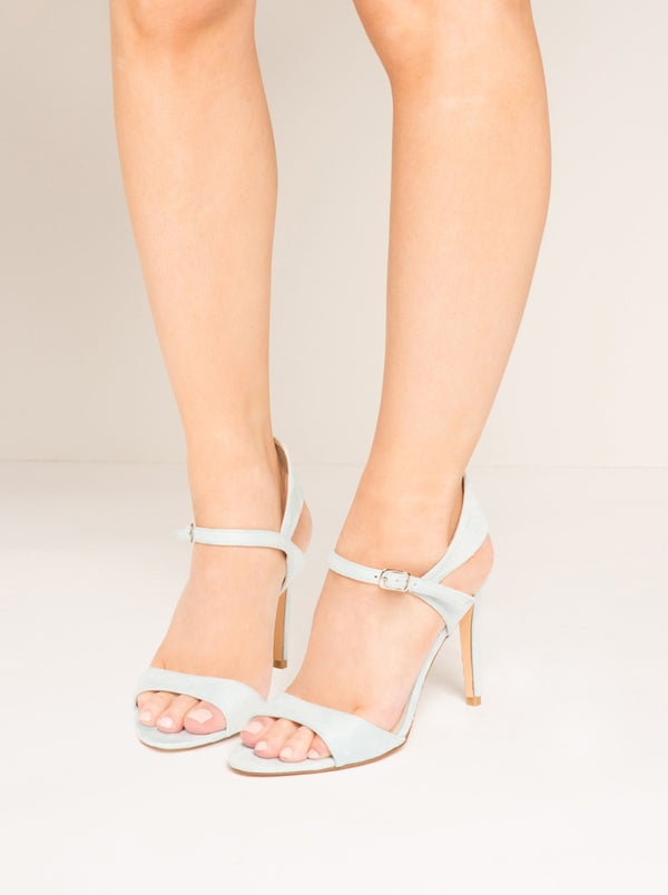Faux Suede Pastel High Heel Sandals in Blue