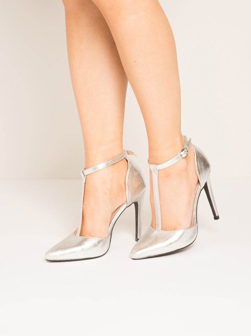 T-Bar Strappy Heels with Buckle Fastening in Silver