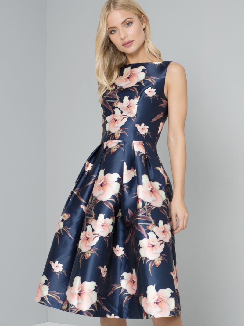 Digital Floral Print Midi Dress in Blue