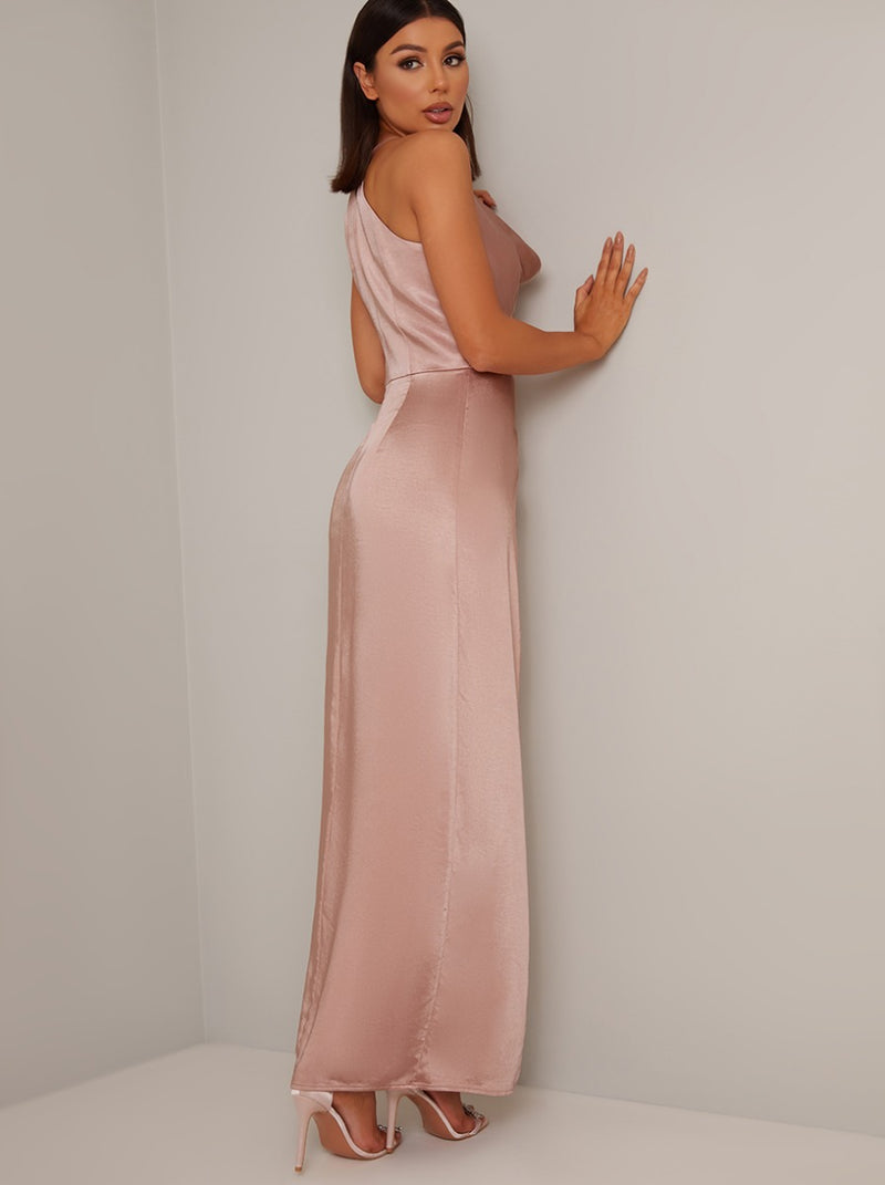 Cami Strap Cowl Back Maxi Dress in Pink