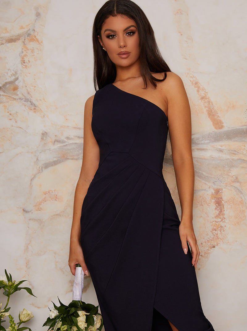 One Shoulder Bodycon Evening Maxi Dress in Blue