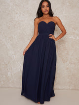 Petite Strapless Chiffon Maxi Evening Dress in Blue