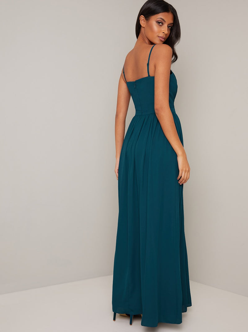 Maxi Bridesmaid Dress with Wrap Style in Green