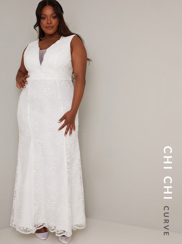 Plus Size Bridal Embellished Maxi Wedding Dress in White