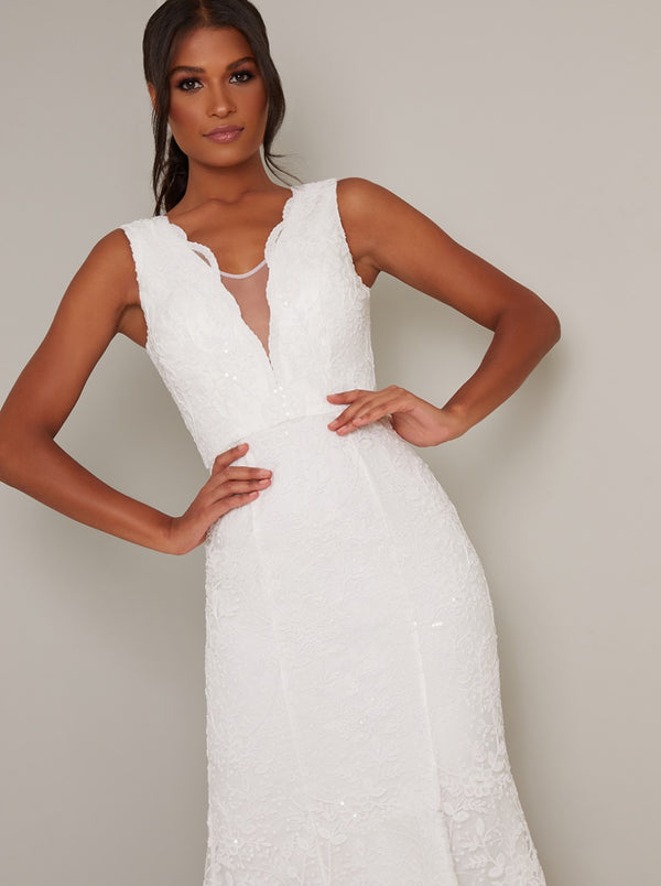 Bridal Lace Bodycon Maxi Dress in White