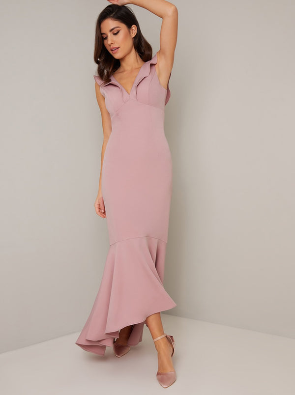 Frill Detail Bodycon Maxi Dip Hem Dress in Pink