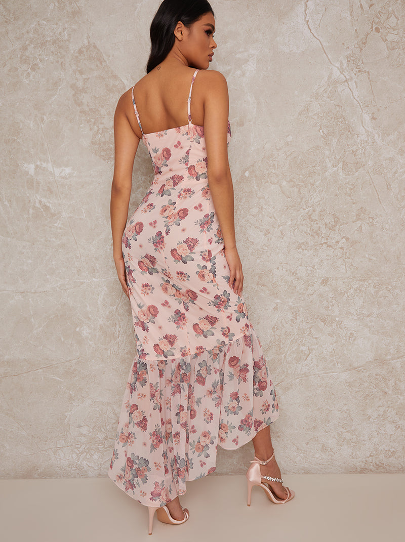 Floral Print Frill Hem Maxi Dress in Pink
