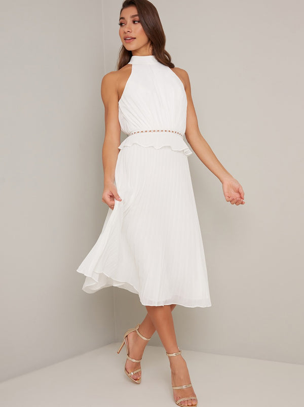 Halter Style Pleated Frill Detail Midi Dress in White