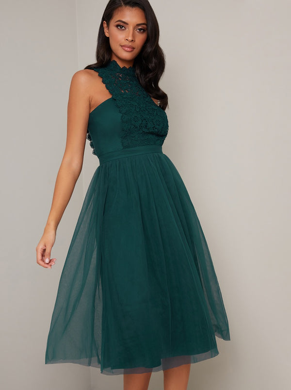High Neck Lace Panel Tulle Midi Dress in Green