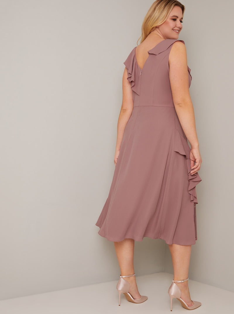 Wrap Style Frill Detailed Midi Dress in Pink